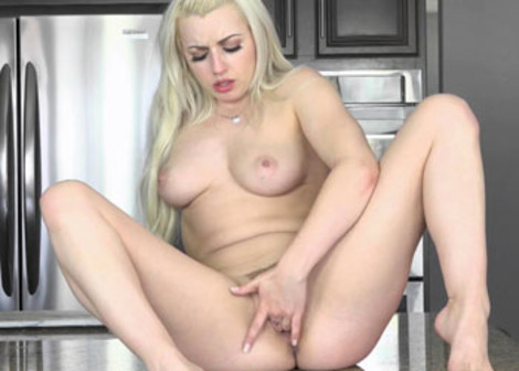 Lexi Belle fingers herself in the kitchen